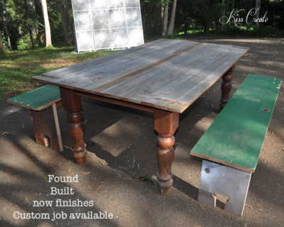 Upcycled door table & benches